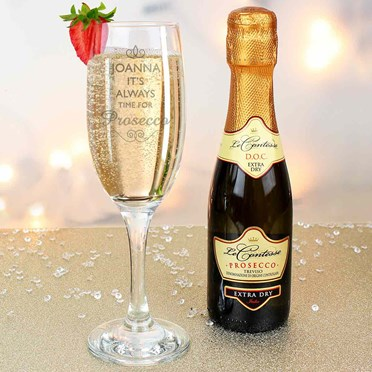 Bar Tools & Accessories Personalised Prosecco Glass Merry Christmas Gift Set W/ Bottle Of Sparkling New Home & Garden