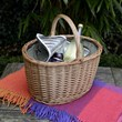 Oval Picnic Basket With Tartan Cover