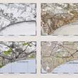 Four OS Maps in a Light Oak Frame