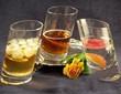 Six Tipsy Glass Tumblers