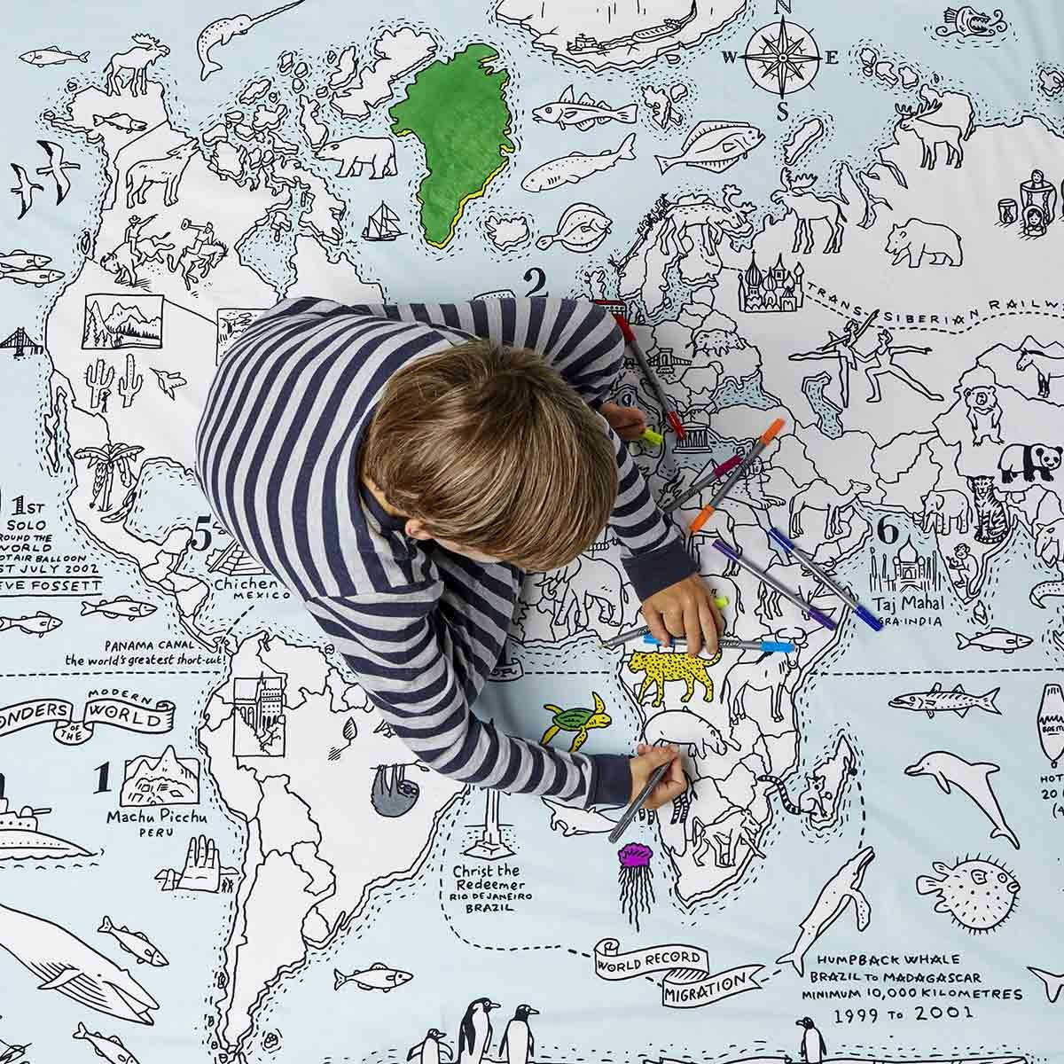 Doodle world map duvet cover the present finder doodle world map duvet cover gumiabroncs Image collections