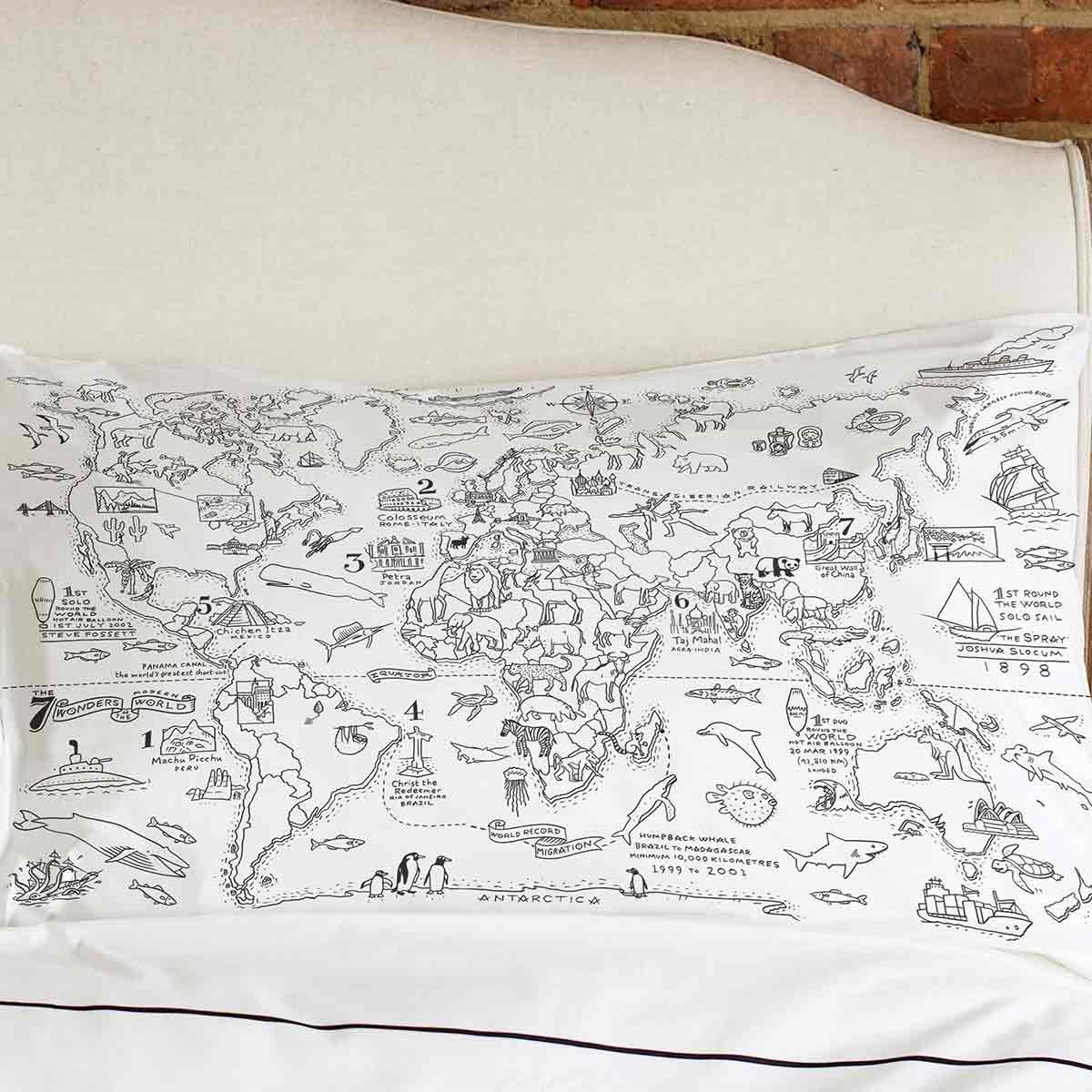 Colour in world map pillowcasesleepdoodle colour and learn world doodle world map pillowcase colour your travels the gumiabroncs Image collections
