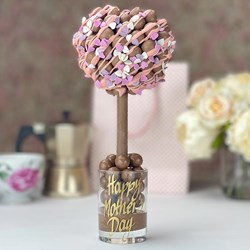 Personalised Pink Drizzle & Heart Sprinkles Malteser Tree
