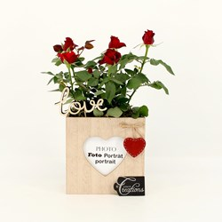 Rose in Wooden Photo Holder