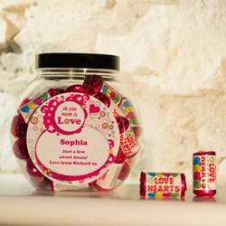 Personalised Love Heart Sweet Jar