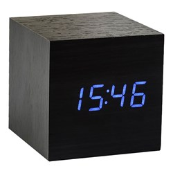 Black Cube Click-on Alarm Clock with Blue LED Display
