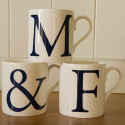 "Alphabet Initial Mugs - Set of Three | Two letters and an ""&"""