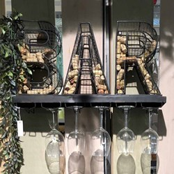 "Metal ""BAR"" Sign & Wine Glass Holder"