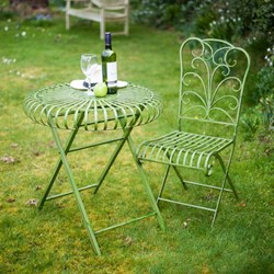 Green Garden Table with Folding Chairs