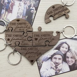 Our Family Personalised Heart Jigsaw Keyring
