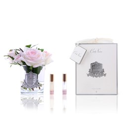 Five Pink Blush Roses Diffuser in Clear Glass Jar