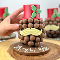 Personalised Christmas Chocolate Moustache & Hat Head