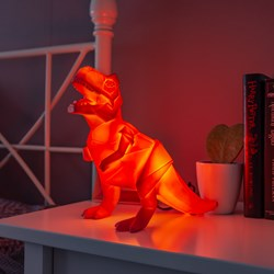 Large Dinosaur Origami Orange T-Rex Lamp