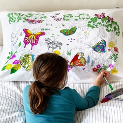 Butterfly Doodle Pillowcase - with fabric pens