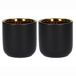 Black and Gold Double Wall Coffee Glasses