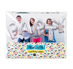 Giant Silver Party Balloon Banner | Spell out there's a Party!