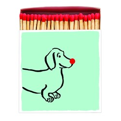Dachshund with Red Nose Square Box Novelty Matches