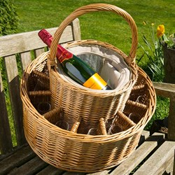 Chilled Wicker Champagne Basket with 12 Flutes | Chill 4 bottles