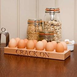 Crack On Beech Wood 12 Egg Holder