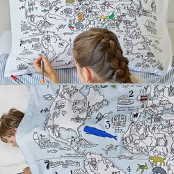 Doodle World Map Duvet Cover and Pillow Set