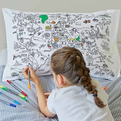 Doodle World Map Pillowcase | Colour Your Travels!
