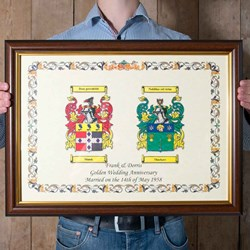 Anniversary Double Coat of Arms   A framed pair of Surnames