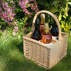 Four Bottle Wicker Wine Carrier