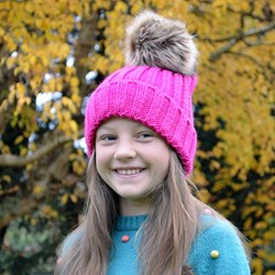 Faux Fur Bobble Hat | Hot Pink, Navy & Grey