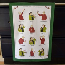 He Drinks Wine, She Drinks Wine Tottering Tea Towel