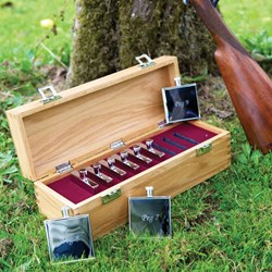 Hip Flask Peg Draw Set | Nine engraved flasks
