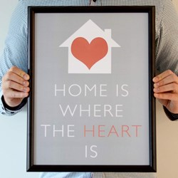 Home Is Where The Heart is Framed Print | Black or White Frame