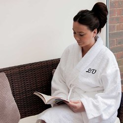 Egyptian Cotton Towelling Bath Robe | Personalised with initials