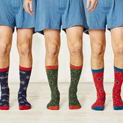 Men's Bicycle Bamboo Socks | Navy Blue, Red & Green