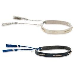 Metallic Beaded Tassel Bracelet | Silver or Navy