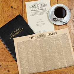 Original Antique Times Newspaper in Leather Folder