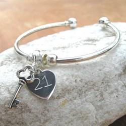 Personalised Heart Charm Bangle