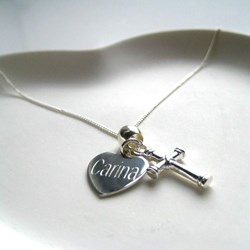 Personalised Cross Charm Necklace   Includes a Heart Charm