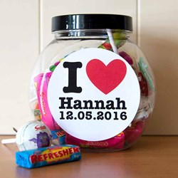 Personalised I HEART Sweet Jar | An Assortment of Sweets