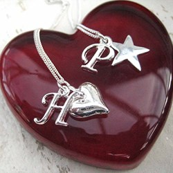 Personalised Charm Initial Necklace | Choose A Heart or Star