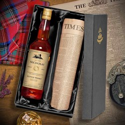 Personalised Malt Whisky & Original Newspaper Set