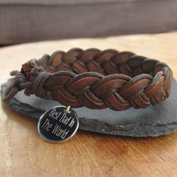 Personalised Men's Leather Bracelet | Engrave With Your Message