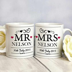Personalised Mr & Mrs Mug Set | Set of Two Mugs