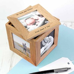 Personalised Oak Photo Keepsake Box | Display special memories