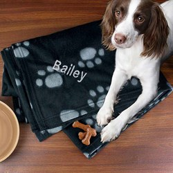 Personalised Paw Print Fleece Dog Blanket