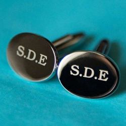 Personalised Silver Oval Cufflinks