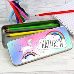 Personalised Unicorn Pencil Case & Pencils