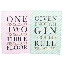 Prosecco & Gin Tea Towel Set