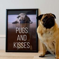 Pugs and Kisses Framed Print | Black or White Frame