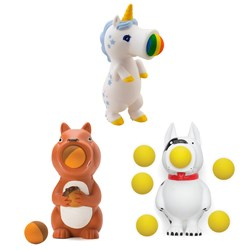 Set of 3 Popper Toys - Dog, Squirrel and Unicorn