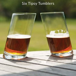 Six Tipsy Glass Tumblers